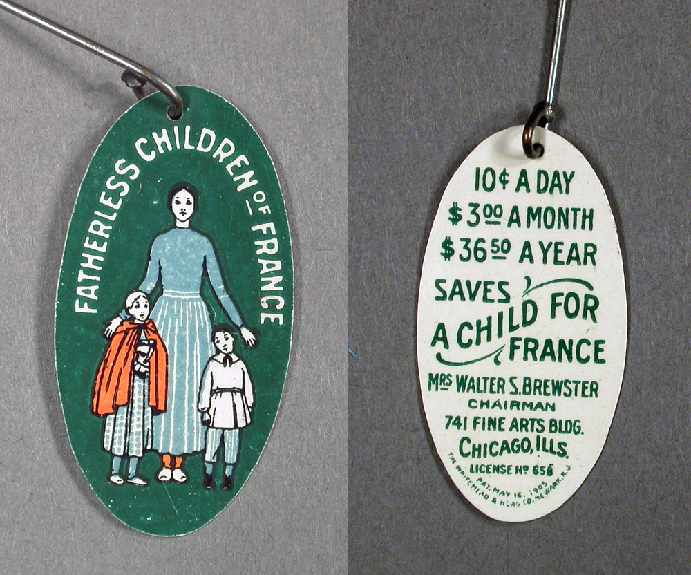 Pin, Fatherless Children of France Society, 1915-1920
