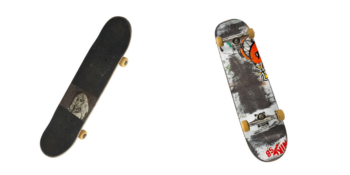 A collage of the front and back of a skateboard. The front shows Lady Gaga. The back is a torn up board.
