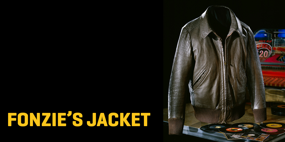 "A leather jacket with the text ""Fonzie's Jacket."""