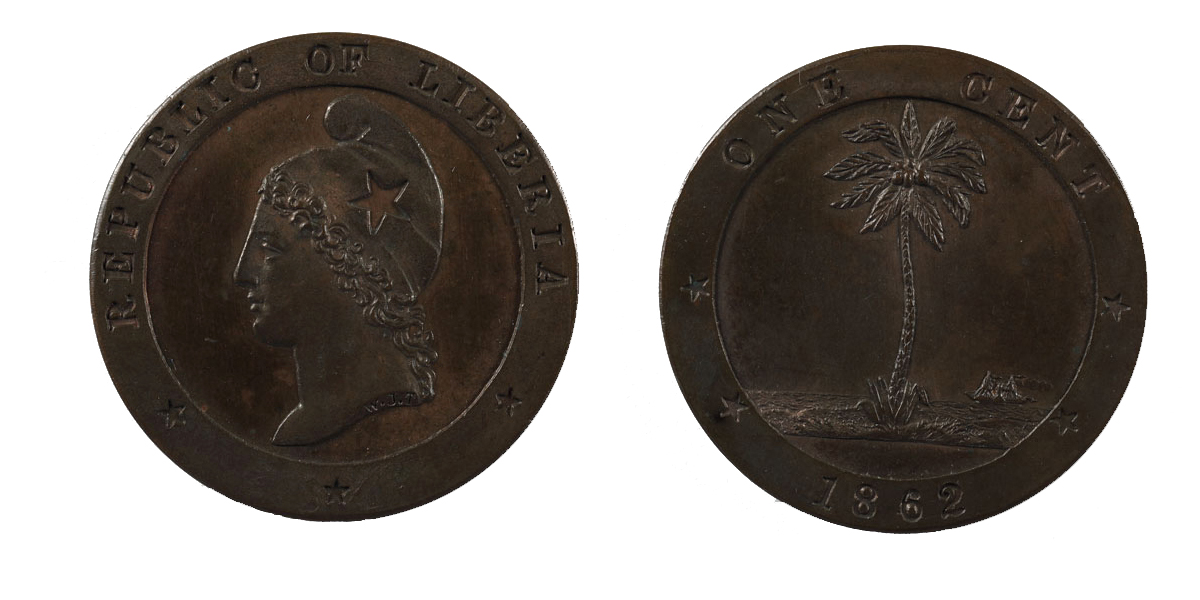 The front and back of a bronze coin.