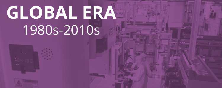 Picture of laboratory with purple overlay and text, Global Era