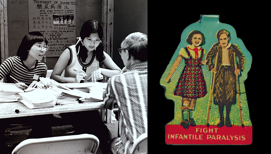 "Nutrition counseling at the 1971 Chinatown Health Fair and ""Fight Infantile Paralysis"" lapel pin, around 1941"