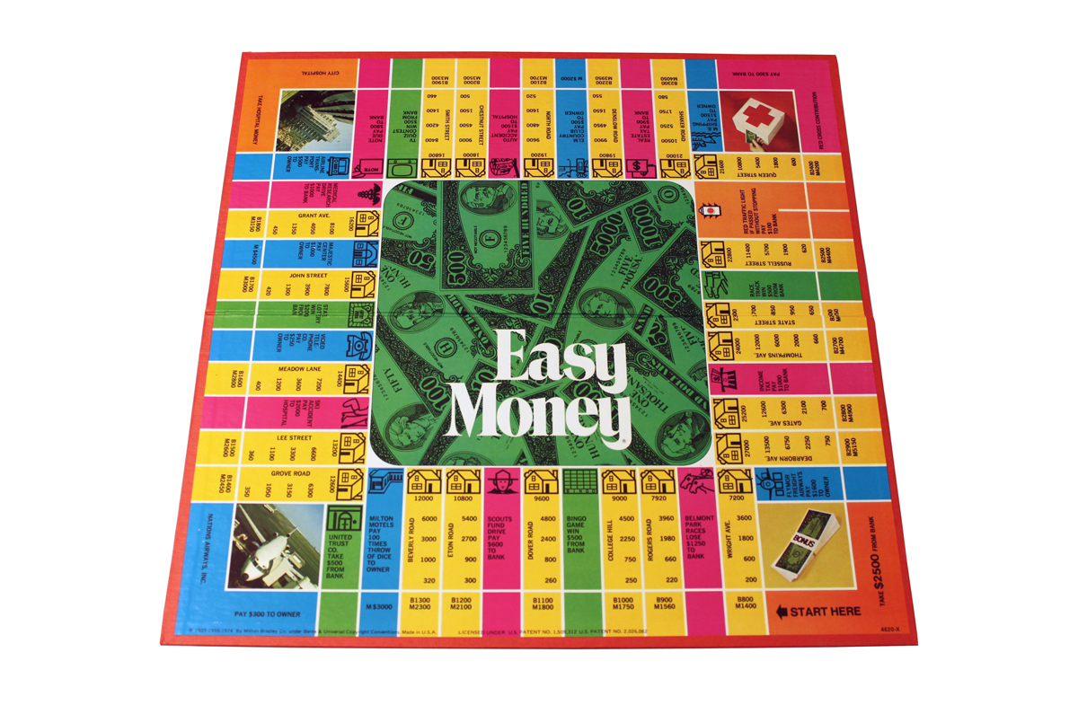 Easy Money board game board, 1970s