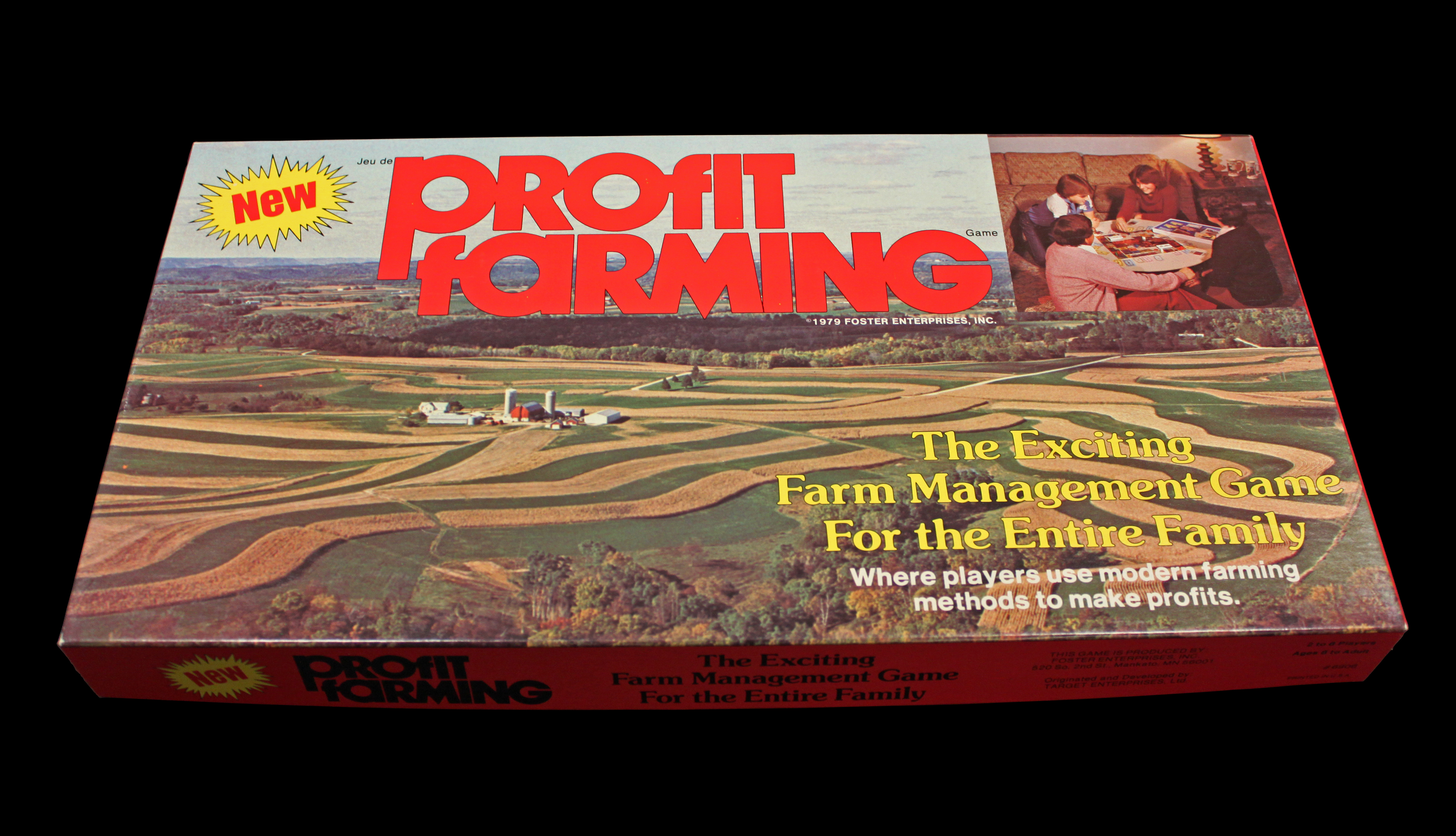 Photograph of the Profit Farming board game box.