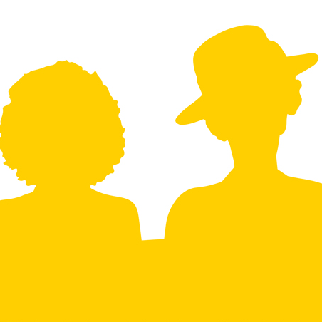 Yellow silhouettes of two female figures