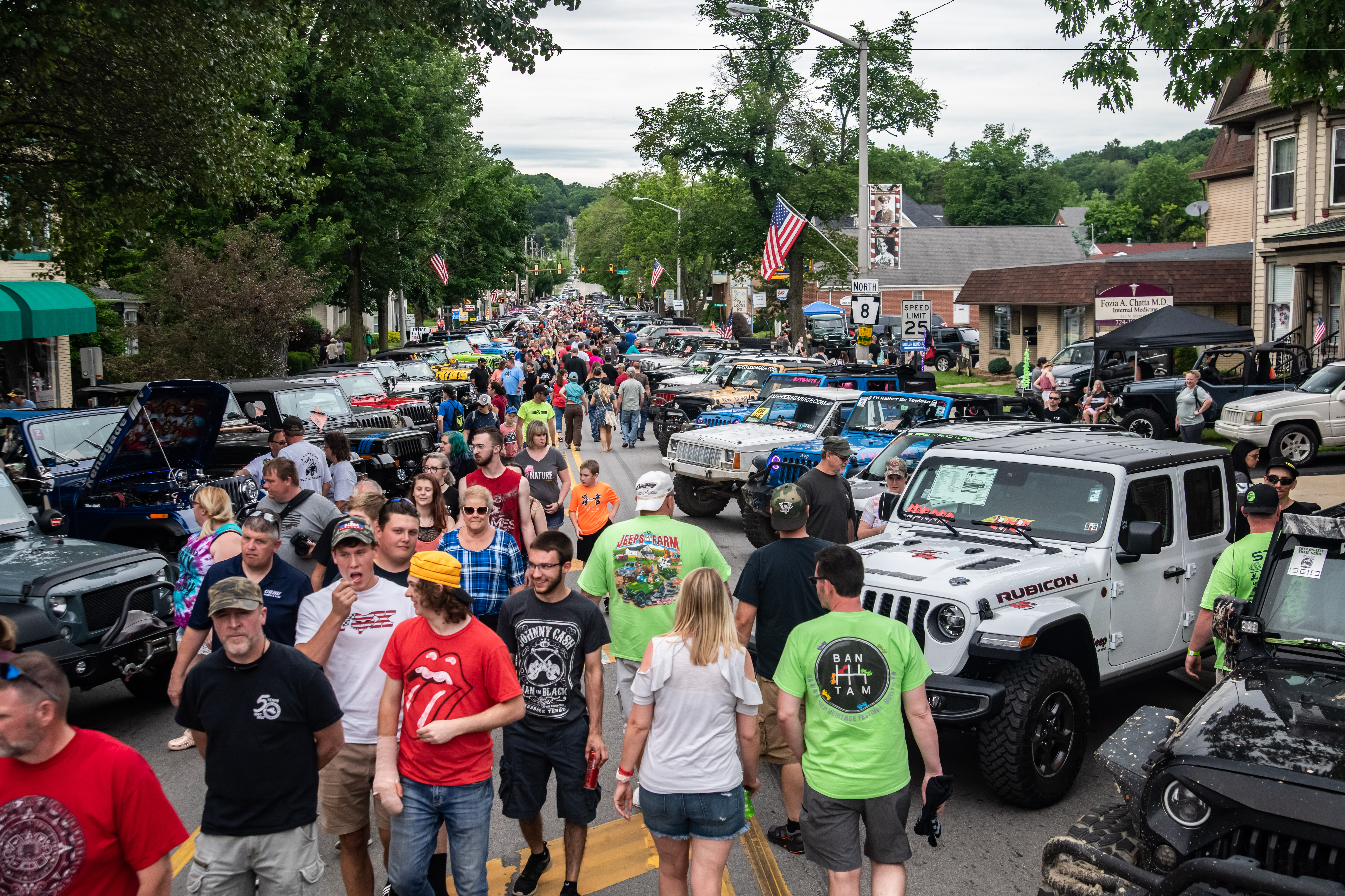 Many people at a jeep festival.