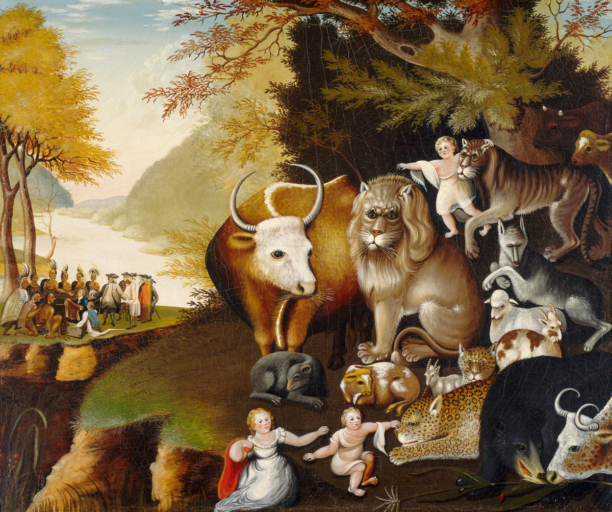 A painting of animals prominently featuring a cow, a tiger, a lion, a rat, a goat, and more. In the painting a baby with the animals points to adult humans in the background.
