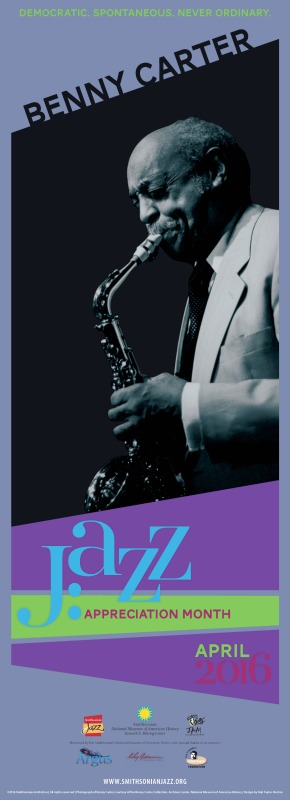 JAM Poster with a black and white image of saxophone player