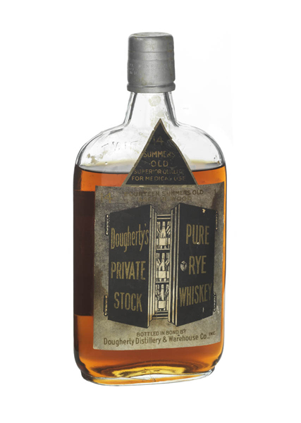 "A full whiskey bottle with a label that says ""For medical purposes."""