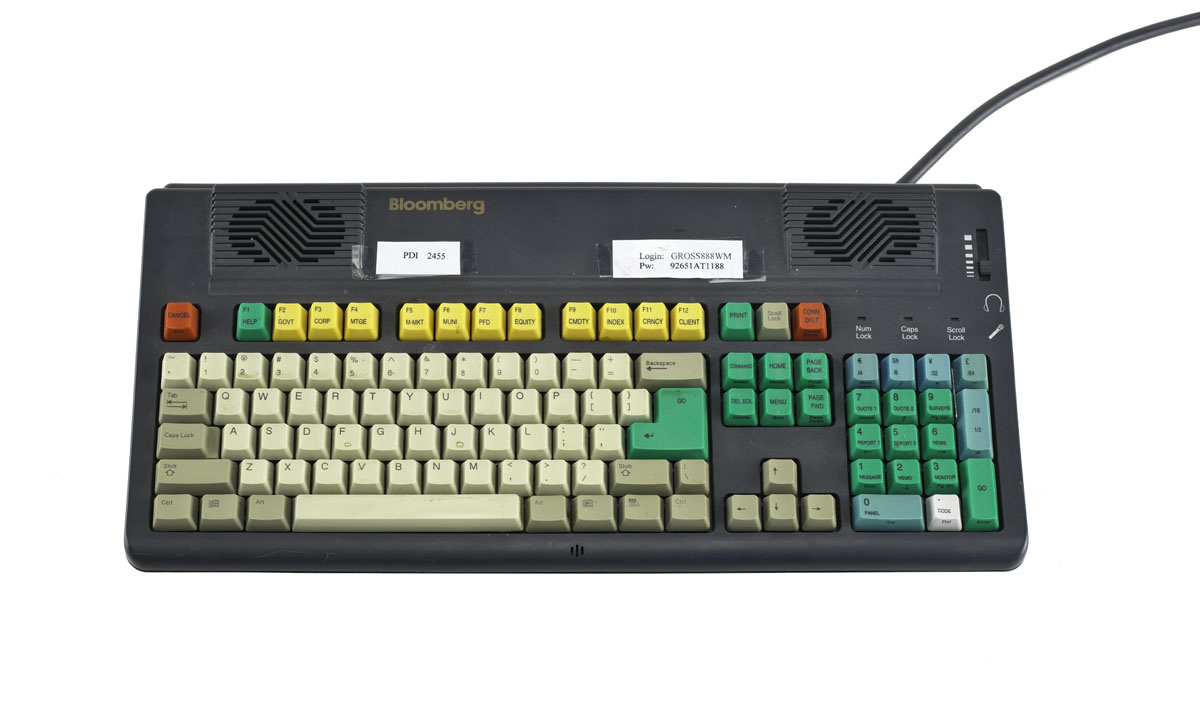 Photograph of Bloomberg terminal keyboard, about 2008