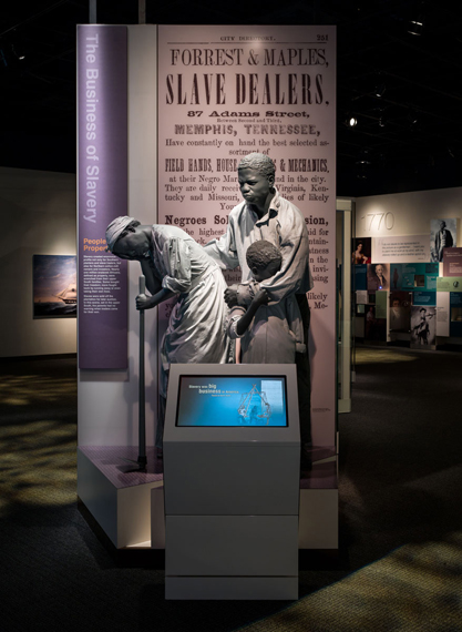 Photograph of the Business of Slavery section in the exhibition.