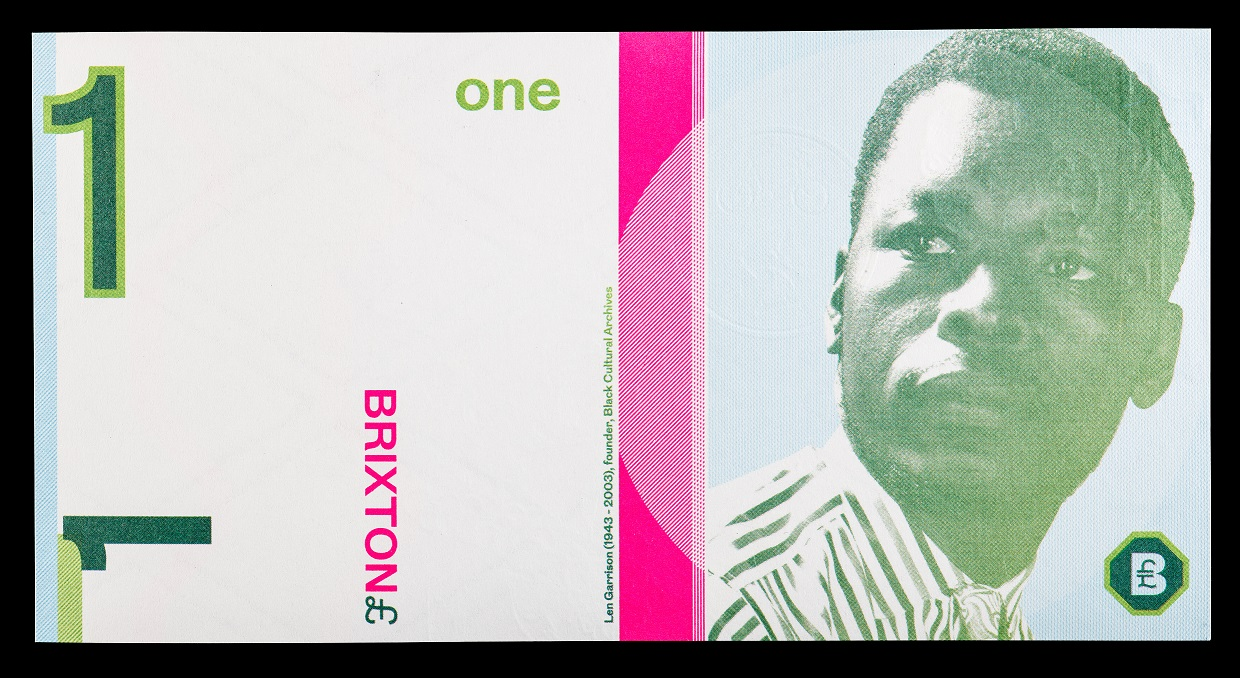 "A rectangular piece of paper currency. It has a white background but contains hot pink and shades of green. There are ""1""s on several places on the check and a man's face on the righthand side; text identifies him as Len Garrison"
