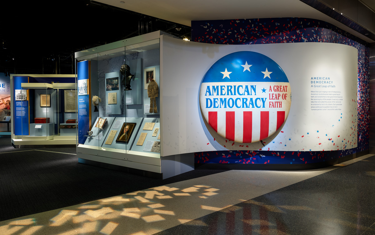 Exterior photograph of the American Democracy exhibition