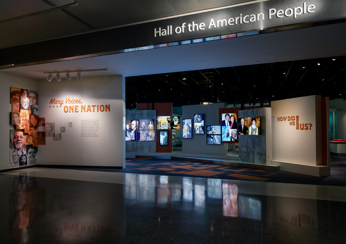 Exterior photograph of the Many Voices, One Nation exhibition