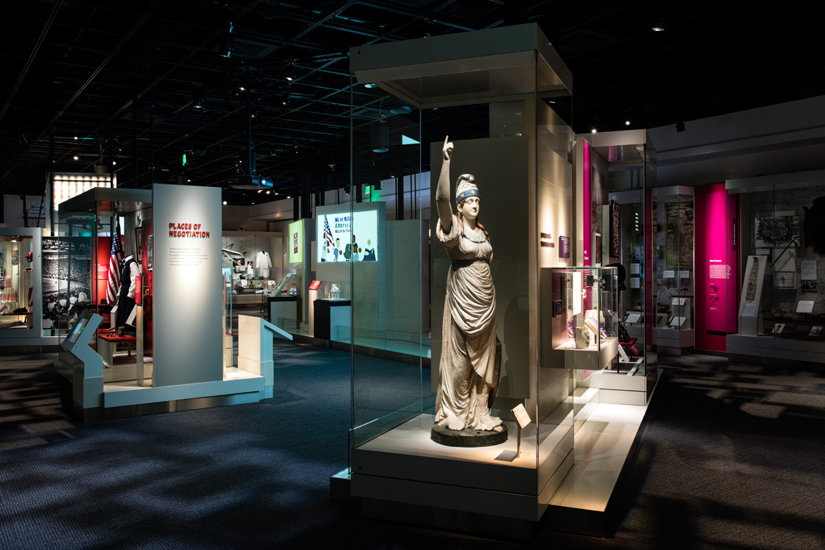 Photograph of the interior of the Many Voices, One Nation exhibition