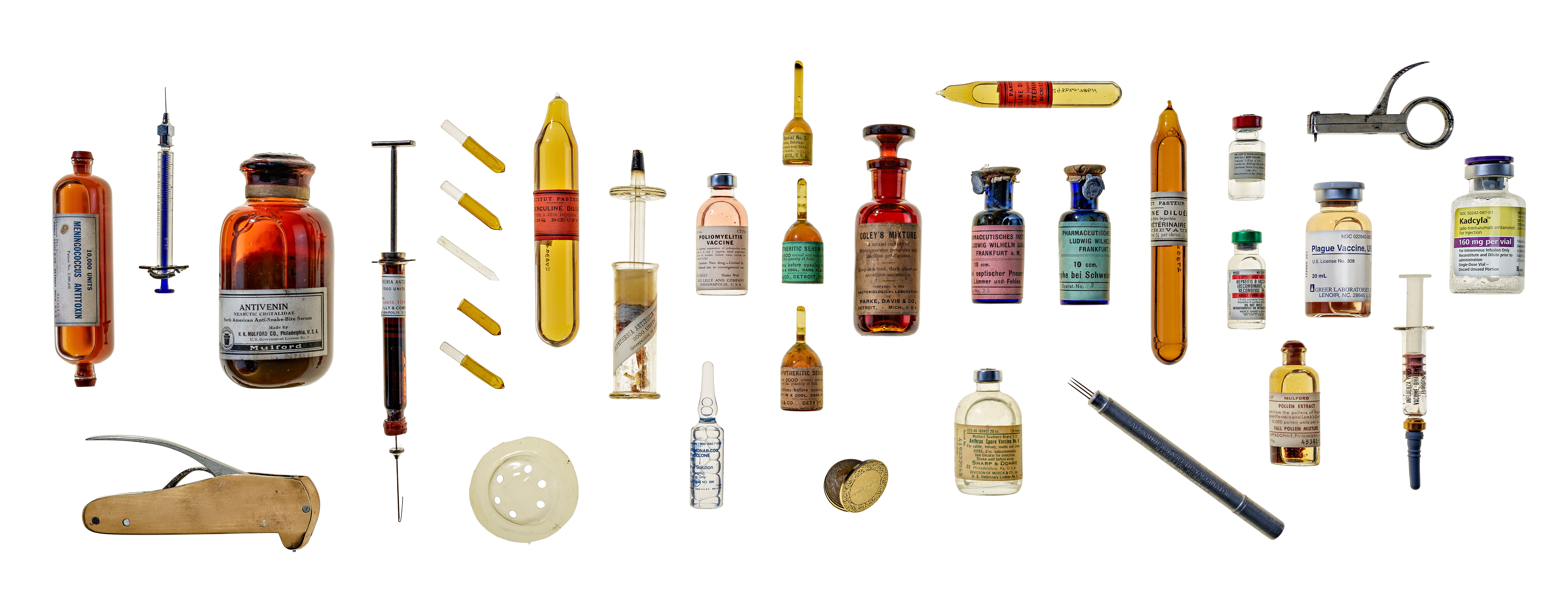 Various bottles and medical instruments