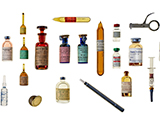 An assortment of vaccines, serums, vaccinators and vaccination shields.