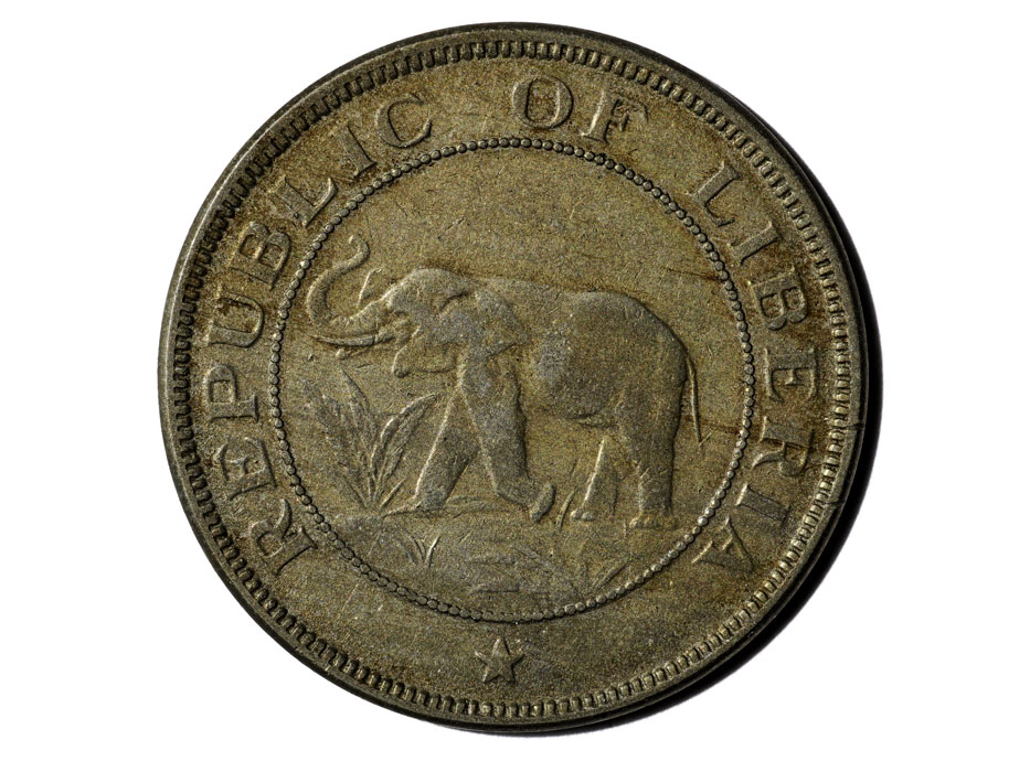 A coin with an elephant on it.