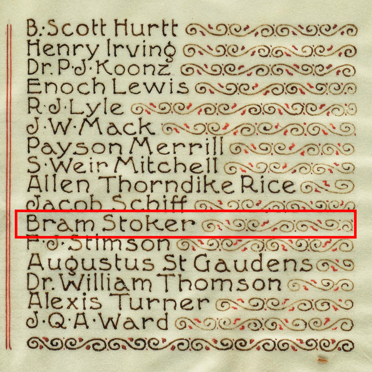 Close-up of illuminated manuscript, showing Bram Stoker's name