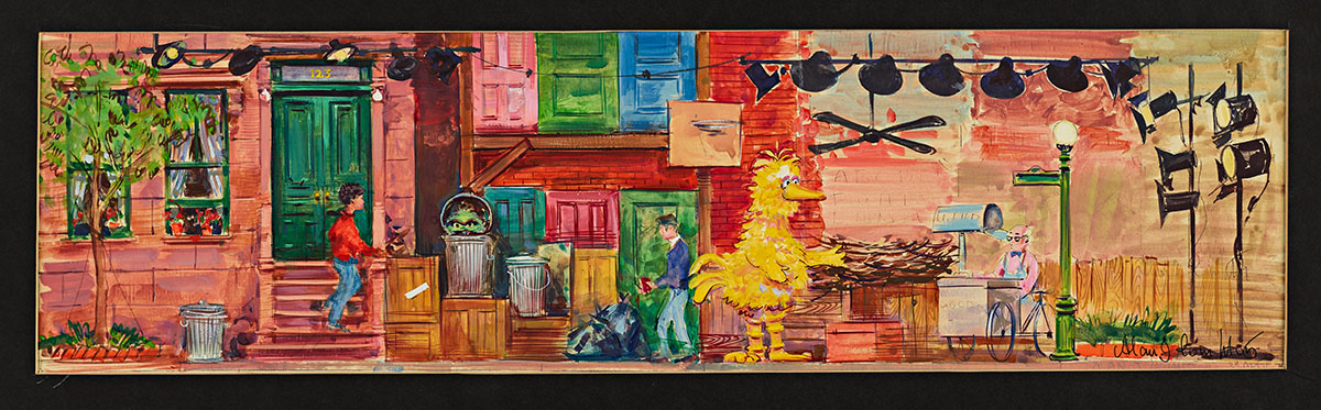A colorful painting of the set of Sesame Street.