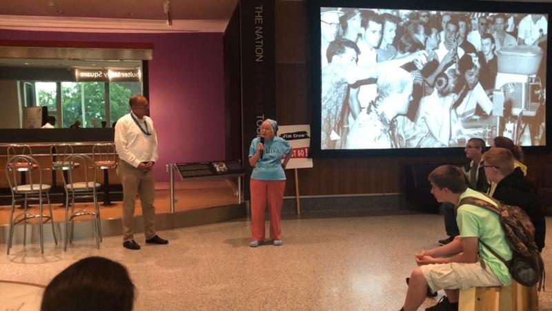 Joan Trumpauer Mulholland  speaking at the museum