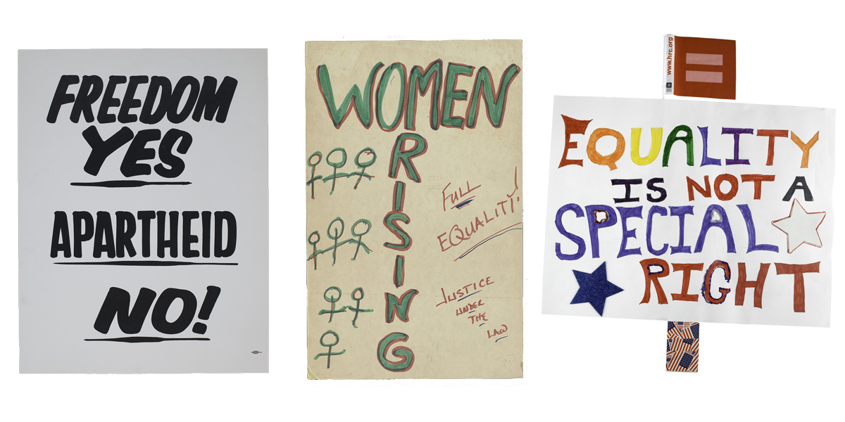 Three posters: one anti-apartheid, one pro-women's rights, one pro-LGBTQ+ rights