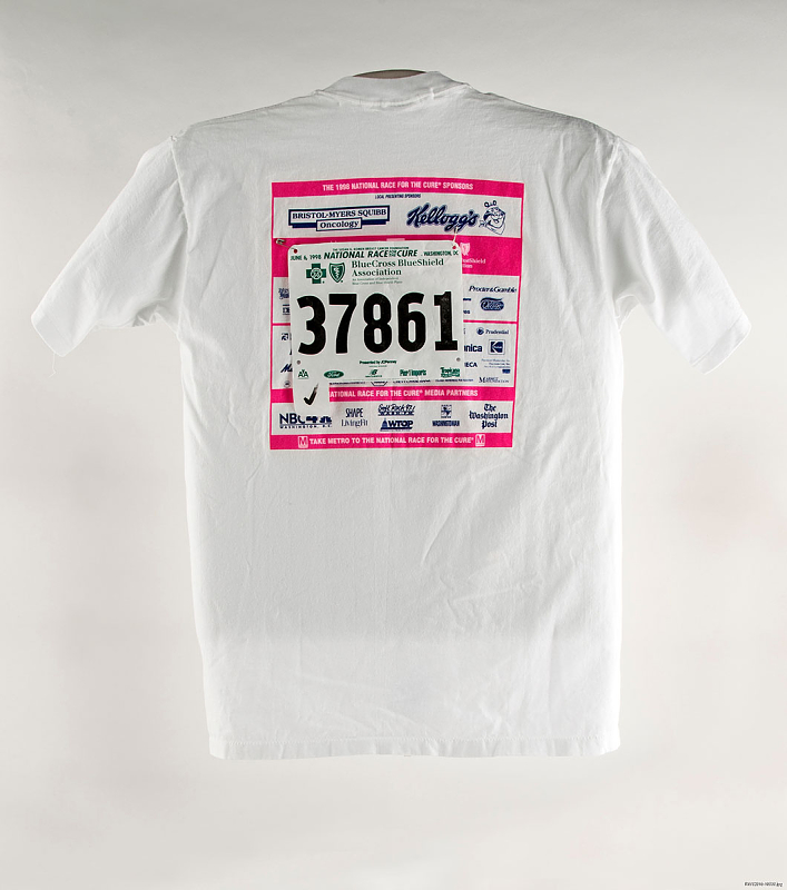 A white t-shirt with a race bib on it