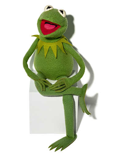 Kermit, a green Muppet frog, sits propped on a a cube. It may not be easy being green, but he makes being green look easy.
