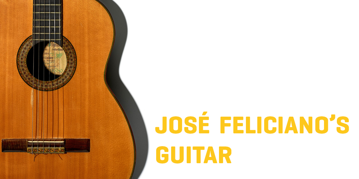 "A picture of an acoustic guitar accompanied by the text ""Jose Feliciano's guitar"""