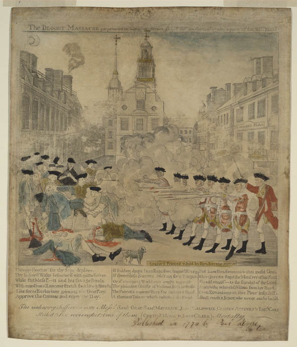 "Paul Revere (after Henry Pelham), ""The Bloody Massacre..."" (Boston: 1770). Notice the two wounds in the chest of the man on the ground, on the far left, and that his face is white. (Courtesy of Library of Congress)"