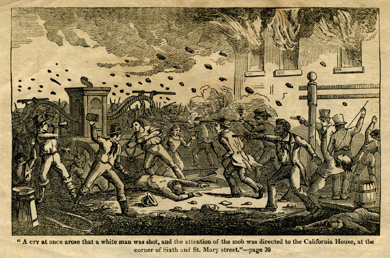 Illustration of a violent scene. Stones fly through the air, combatants pint guns at each other, and a distraught man and a woman stand beside a fire engine as a fire consume a building in the background.
