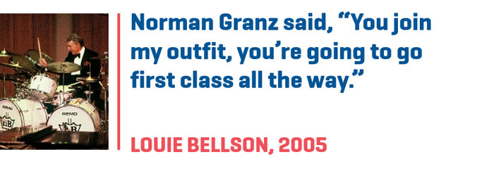 "Photograph of Louie Bellson paired with quote, Norman Granz said, ""You join my outfit, you're going to go first class all the way."""