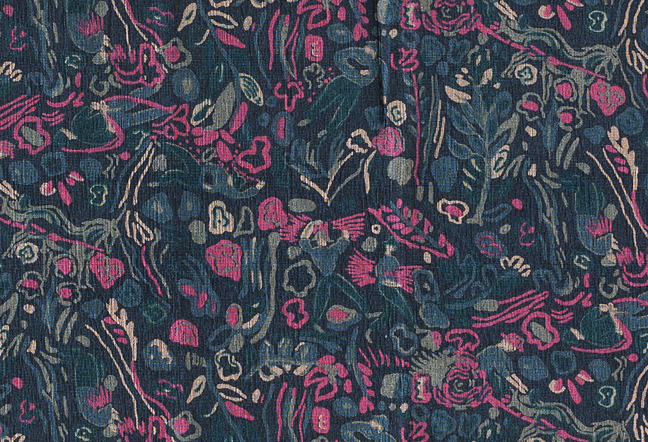 Photo of fabric. Navy blue background with small figures in lighter blue, pink flowers, hay, floral images.