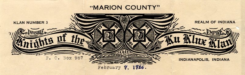 Official letterhead of the Marion County Klan Number 3