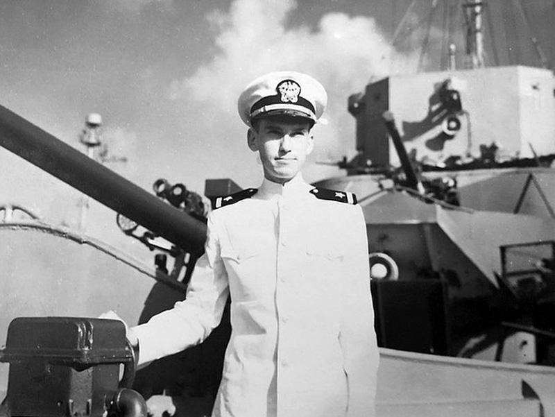 Ensign Lundeberg aboard Frederick C. Davis