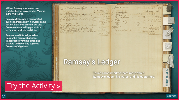 Screenshot of the Ramsay ledger interactive display