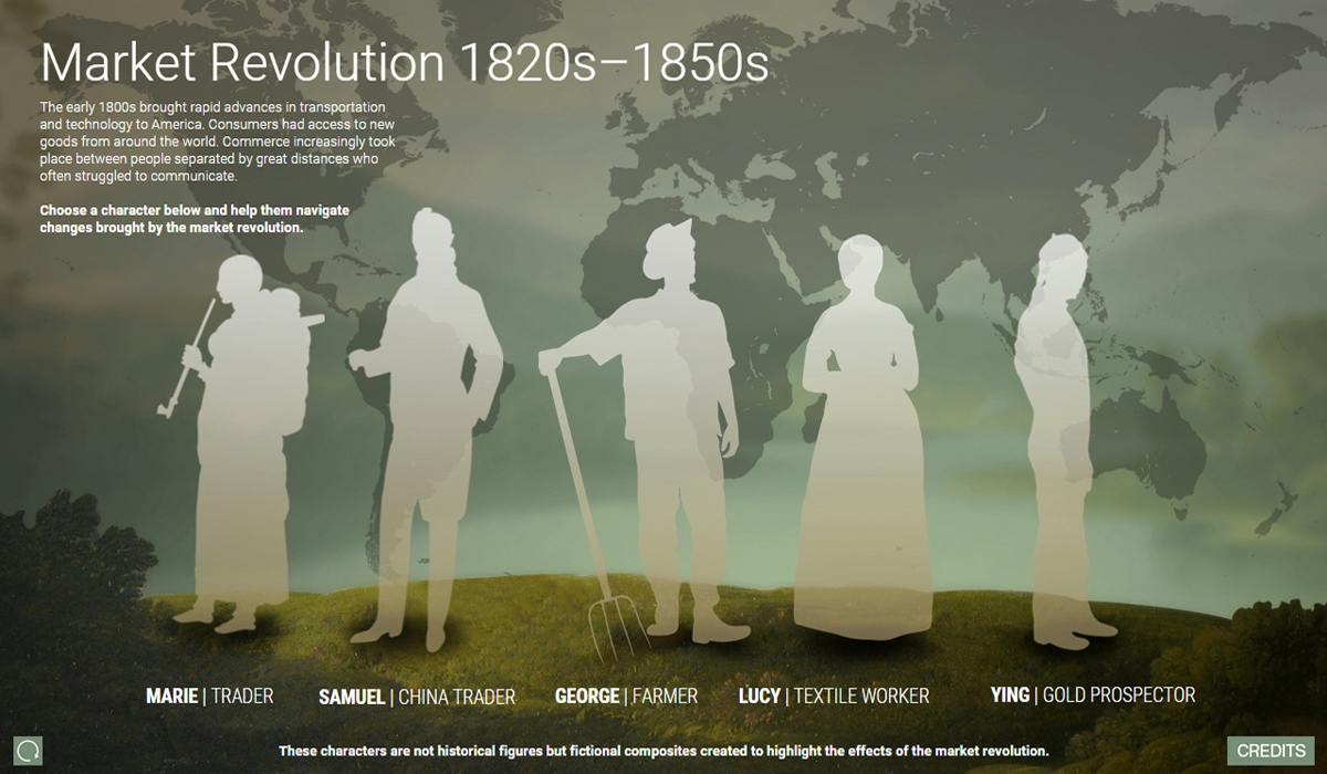 "Opening screen for the museum's interactive display, ""The Market Revolution"""