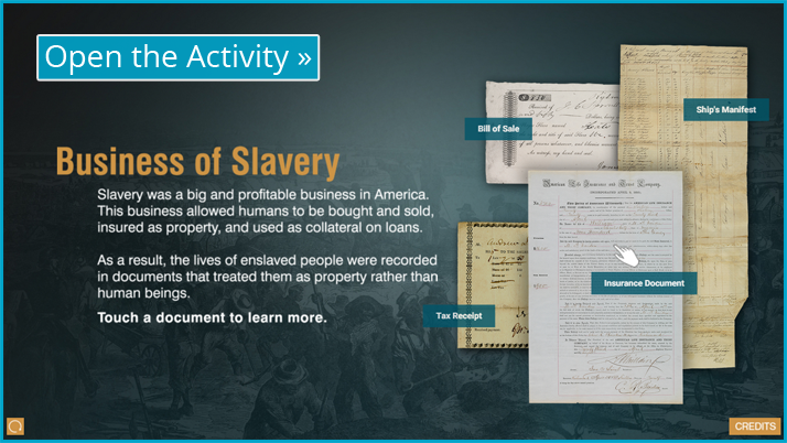 Screenshot of the Business of Slavery interactive display