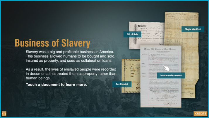 Screenshot of Business of Slavery interactive display