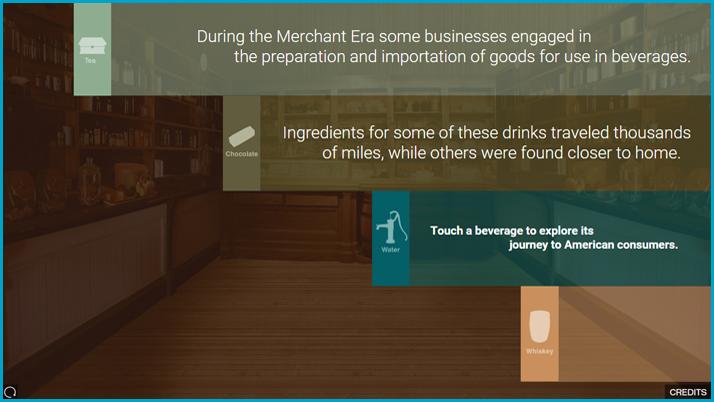 Screenshot of the Chocolate and Tea interactive display
