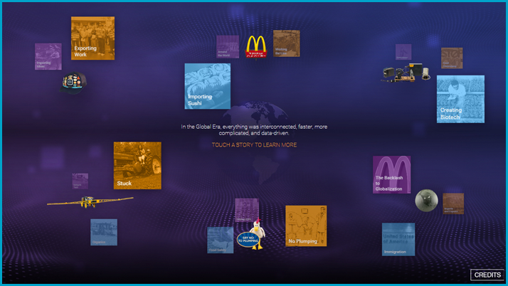 Screenshot of the interactive display focusing on Globalization and Food