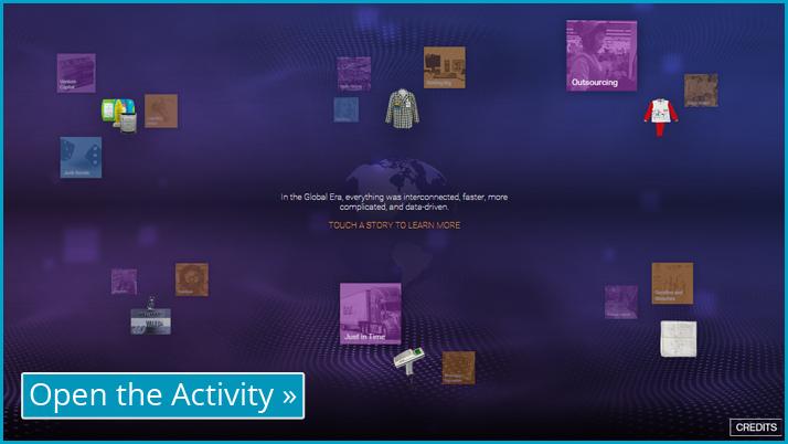 Screenshot of the Global Era digital labels interactive display