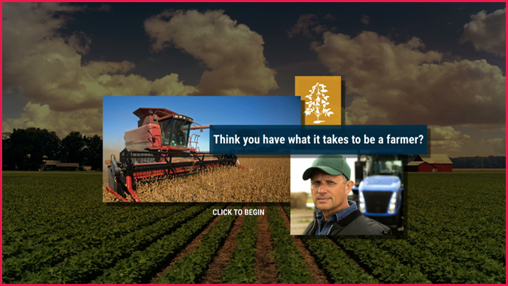 Icon for Farming Challenge simulation with images of a field, combine, and farmer
