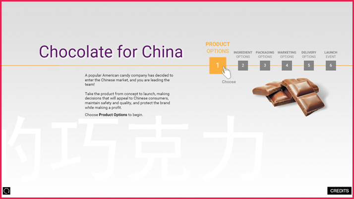 Interactive display for Chocolate for China