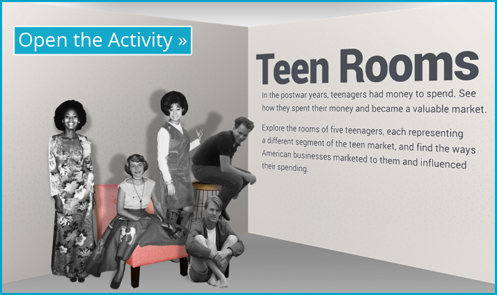 Screenshot of Teen Rooms interactive display