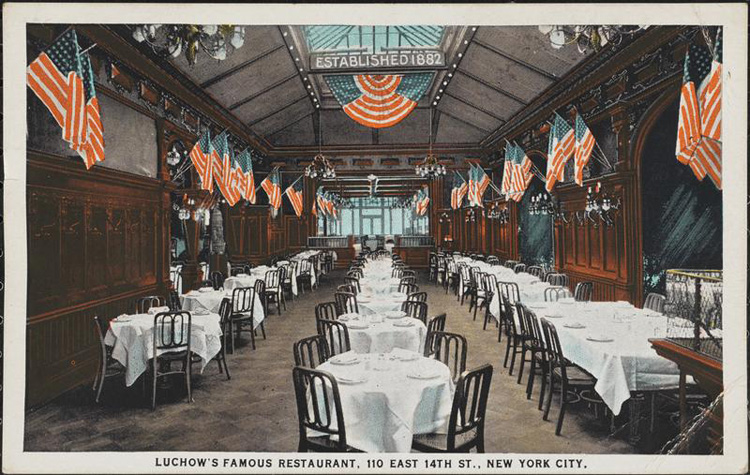 Illustration showing restaurant laid out for guests, with white tablecloths and numerous American flags