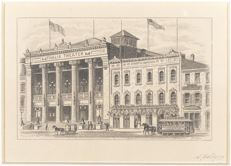 Illustration of Thalia Theater with horses and carriages in the foreground