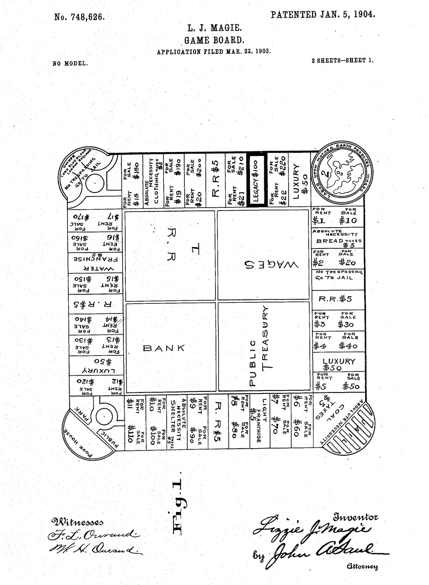 Patent drawing for The Landlord's Game, 1903