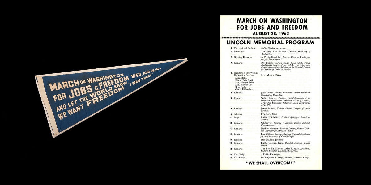 The program for the March on Washington, and a blue souvenir pennant.