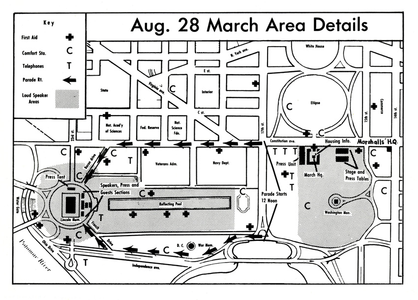 Overhead map showing the parade route for the March on Washington